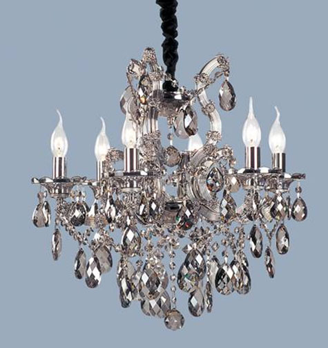 "22"" x 21.5"" Ceiling Light fixture 6 bulbs with 62 Black Crystals"