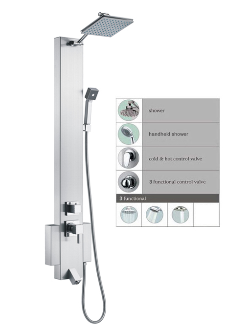 "48"" Shower Panel with rainfall showerhead tub spout SPS822 - Click Image to Close"